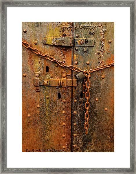 Long Locked Iron Door Framed Print