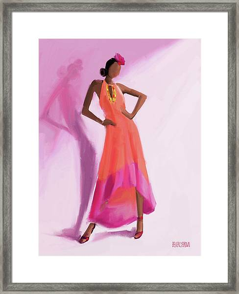 Long Orange And Pink Dress Fashion Illustration Art Print Framed Print by Beverly Brown