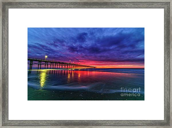 Framed Print featuring the photograph Long Pier by DJA Images