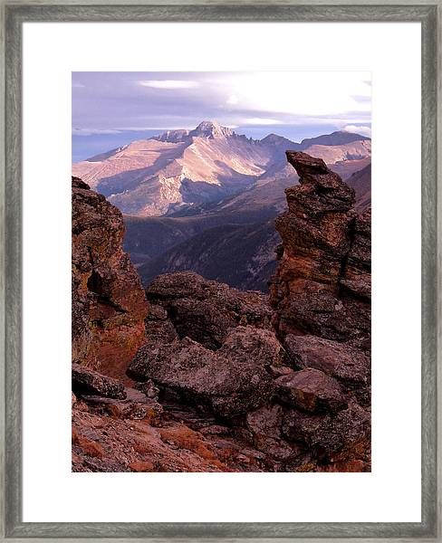 Longs Peak From Rock Cut  Framed Print