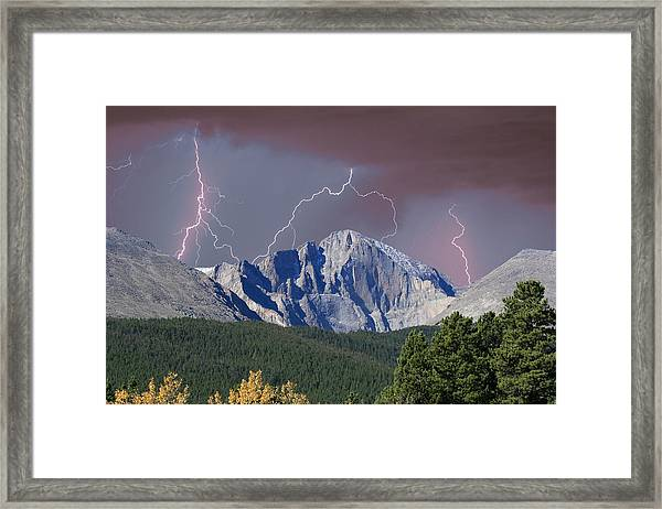Longs Peak Lightning Storm Fine Art Photography Print Framed Print