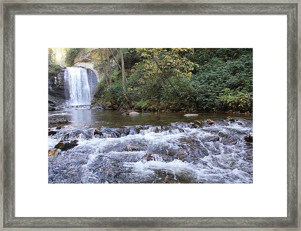 Looking Glass Falls Downstream Framed Print