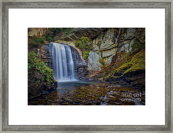Looking Glass Falls In The Blue Ridge Mountains Brevard North Carolina Framed Print
