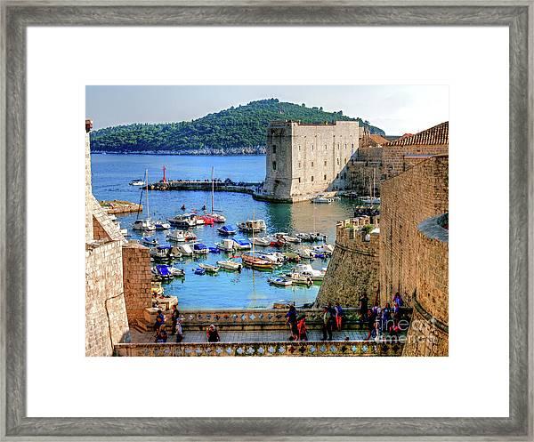 Looking Out Onto Dubrovnik Harbour Framed Print