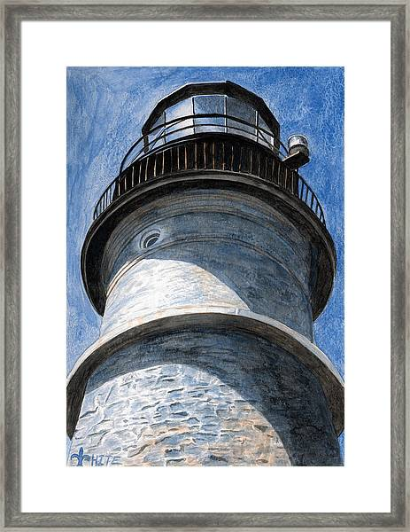 Framed Print featuring the painting Looking Up Portland Head Light by Dominic White
