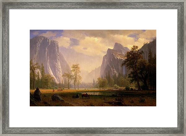 Looking Up The Yosemite Valley  Framed Print