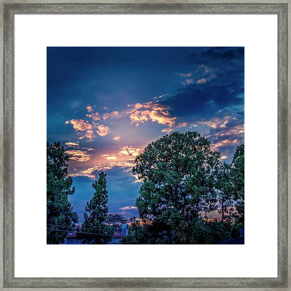 Looking West At Sunset Framed Print
