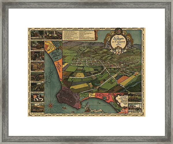 Los Angeles As It Appeared In 1871 Framed Print
