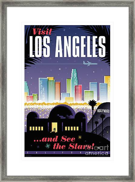 Los Angeles Poster - Retro Travel  Framed Print