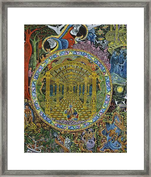 Framed Print featuring the painting Los Grados Del Curandero by Pablo Amaringo