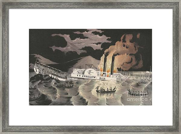 Loss Of The Steamboat Swallow, While On Her Trip From Albany To New York, 1845 Framed Print