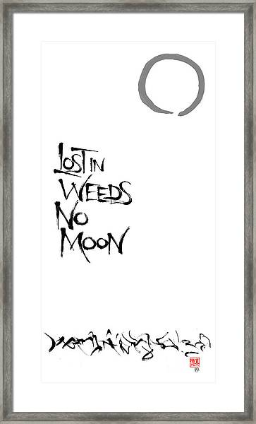 Lost In Weeds, No Moon Framed Print