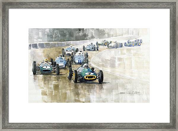 1961 Germany Gp  #7 Lotus Climax Stirling Moss Winner  Framed Print