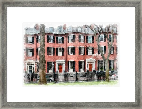 Framed Print featuring the photograph Louisburg Square Beacon Hill Boston by Edward Fielding
