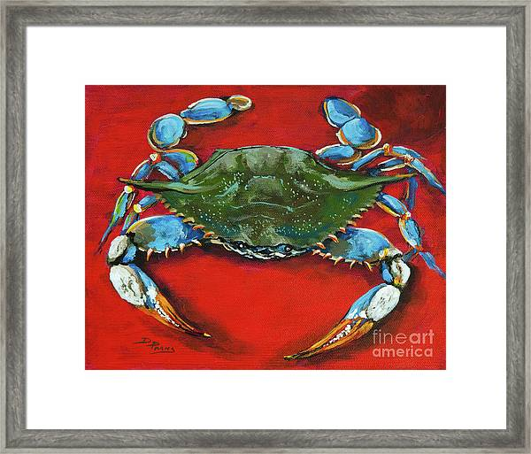 Louisiana Blue On Red Framed Print