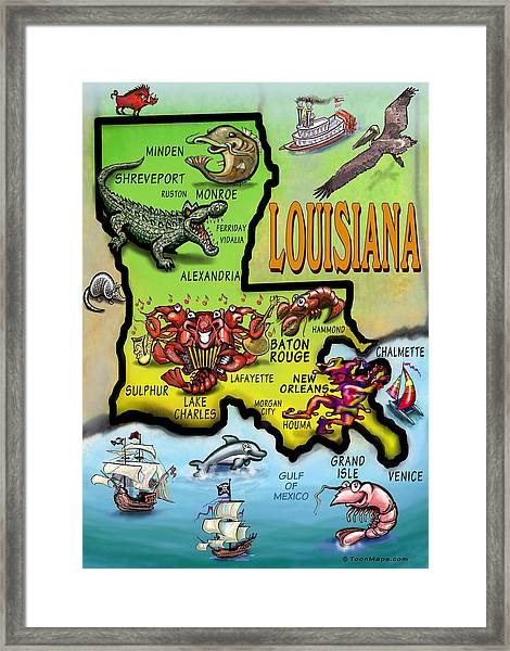 Louisiana Cartoon Map Framed Print