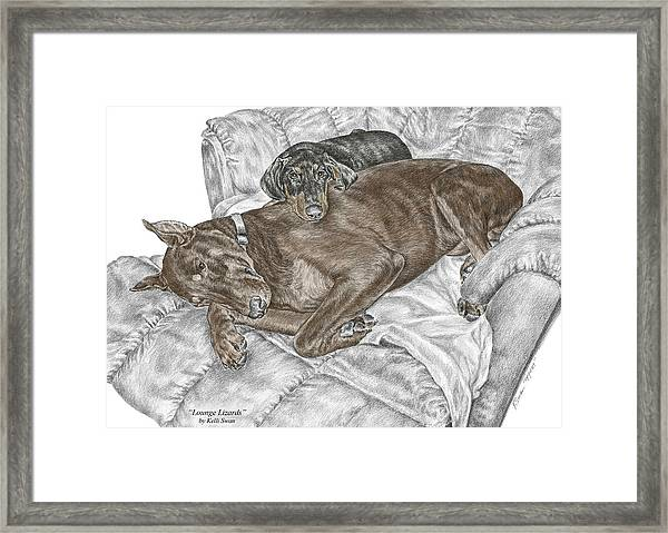 Lounge Lizards - Doberman Pinscher Puppy Print Color Tinted Framed Print
