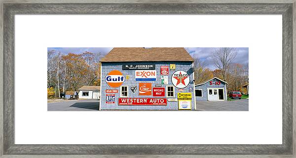 Love Barn With Road Signs, Orland, Maine Framed Print