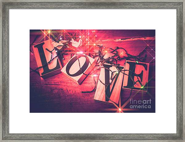 Love Birds And Wooden Sentiments Framed Print