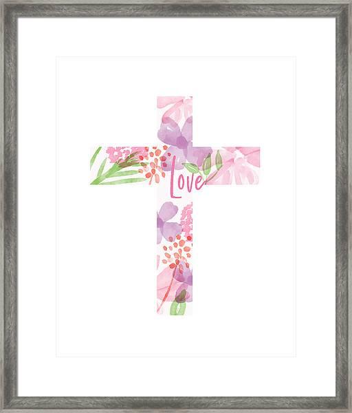 Love Floral Cross- Art By Linda Woods Framed Print