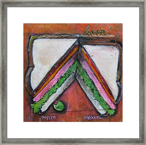 Framed Print featuring the painting Love For Ham Sandwich by Laurie Maves ART