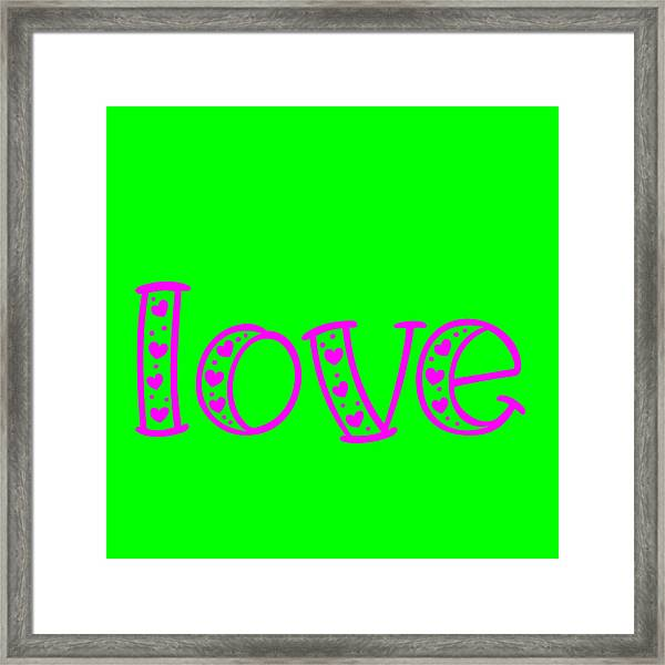 Love In Magenta And Green Framed Print