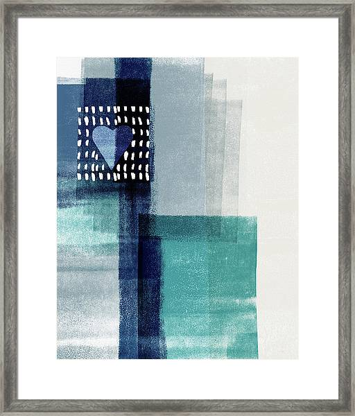 Love In Shades Of Blue- Abstract Art By Linda Woods Framed Print