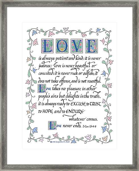 Love Is Always Patient-with Border Framed Print
