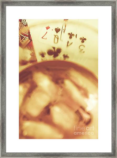 Love Of Whisky And Card Games Framed Print