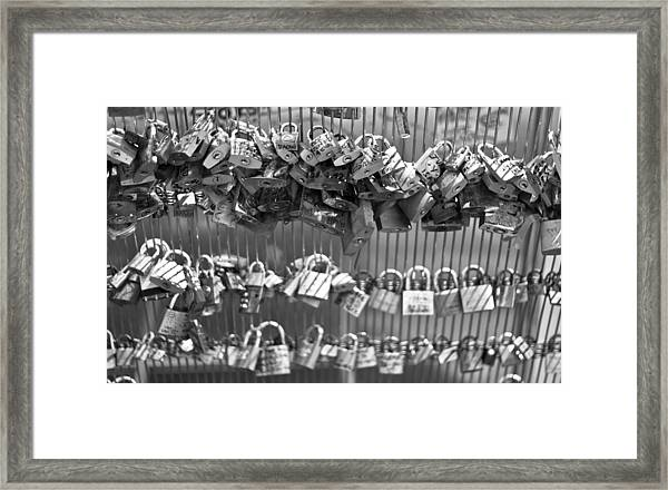 Love Padlocks On The Bridge Framed Print