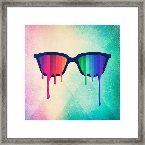Love Wins Rainbow - Spectrum Pride Hipster Nerd Glasses Framed Print