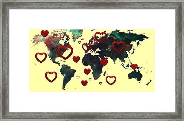 Love World Map 2 Framed Print