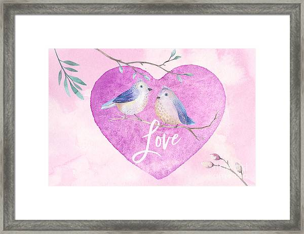 Lovebirds For Valentine's Day, Or Any Day Framed Print