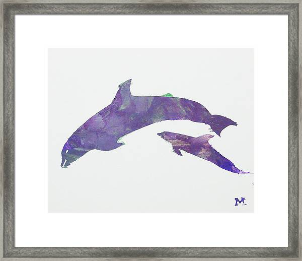 Framed Print featuring the painting Lovely Dolphins by Candace Shrope