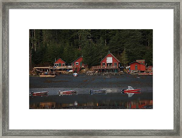 Low Tide At Fish Camp Framed Print by Helen Carson