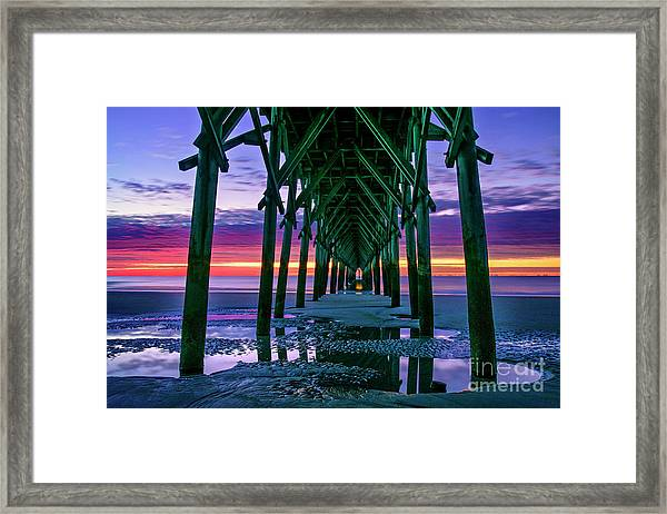 Framed Print featuring the photograph Low Tide Pier by DJA Images