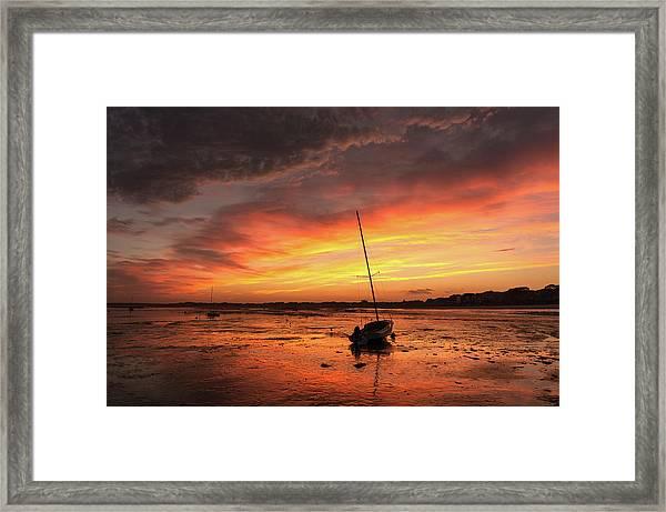 Low Tide Sunset Sailboats Framed Print