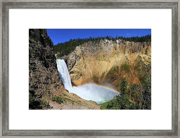Lower Falls With A Rainbow Framed Print