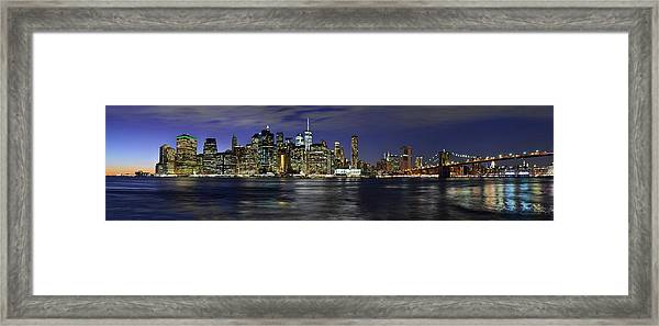 Lower Manhattan From Brooklyn Heights At Dusk - New York City Framed Print