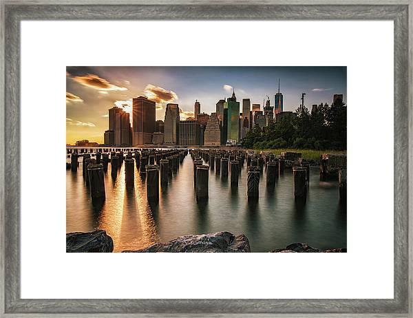 Lower Manhattan Sunset Twinkle Framed Print