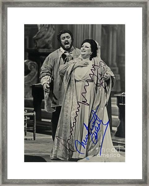 Luciano Pavarotti On Stage Autographed Print  Framed Print