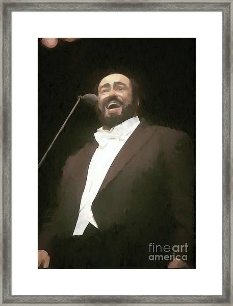 Luciano Pavarotti Painting  Framed Print