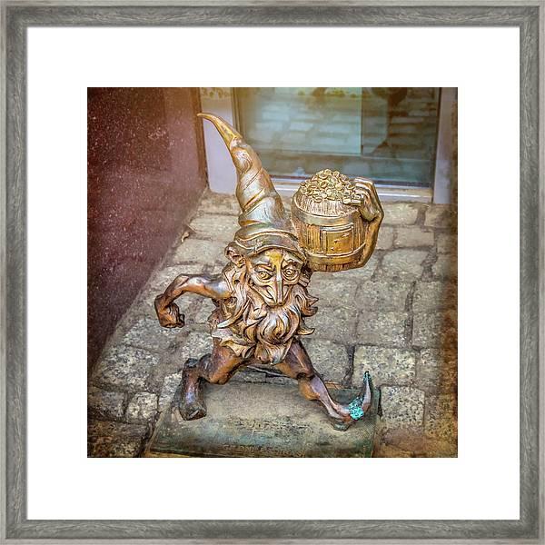 Lucky Leprechaun Dwarf In Wroclaw Poland Framed Print