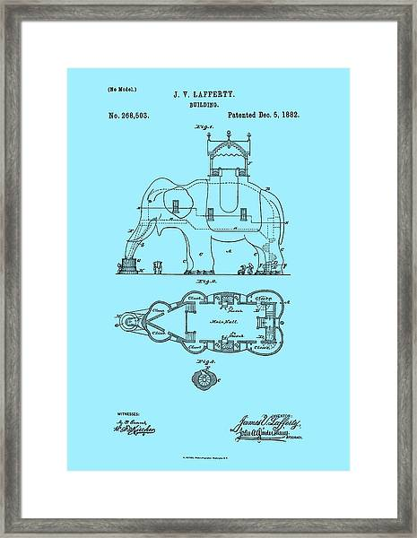 Lucy The Elephant Patent 1882 Framed Print