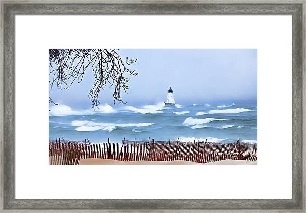Ludington Winter Shore  Framed Print