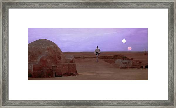 Luke Skywalker Tatooine Sunset Framed Print
