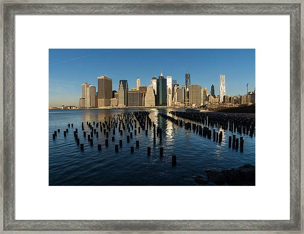Luminous Blue Silver And Gold - Manhattan Skyline And East River Framed Print