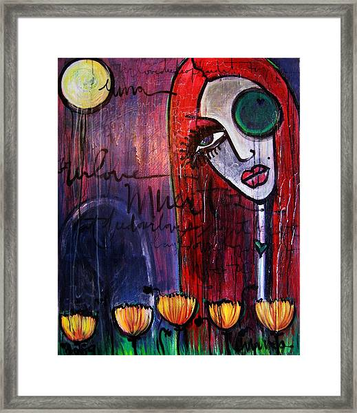 Framed Print featuring the painting Luna Our Love Muertos by Laurie Maves ART