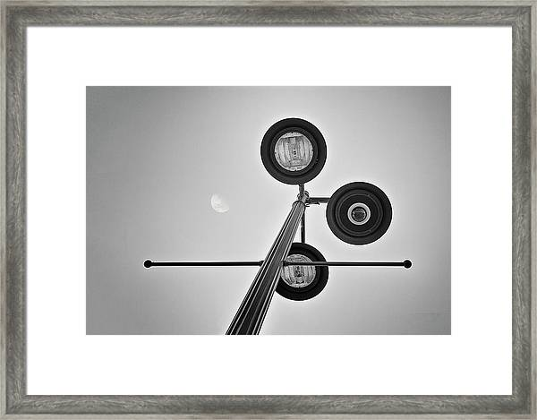 Lunar Lamp In Black And White Framed Print