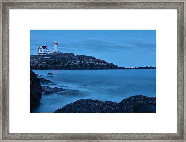 Lunar Perigee Moonrise And Nubble Lighthouse, Cape Neddick, York Framed Print